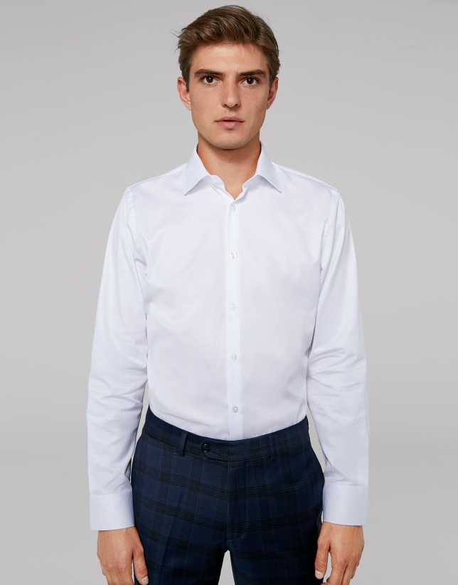 Camisa vestir rombos blanco