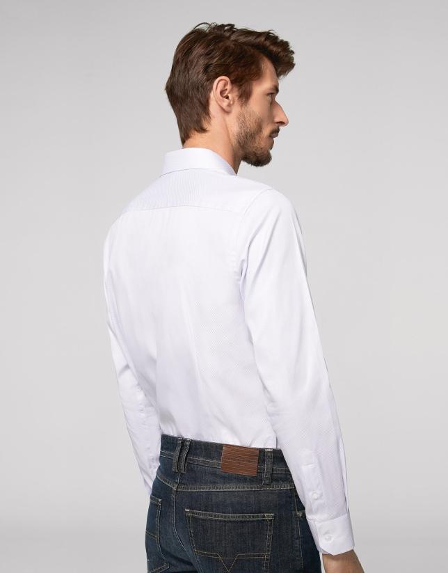 Camisa vestir falso liso gris claro