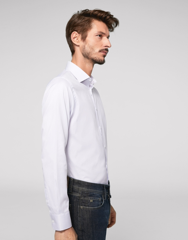 Light grey fake plain dress shirt