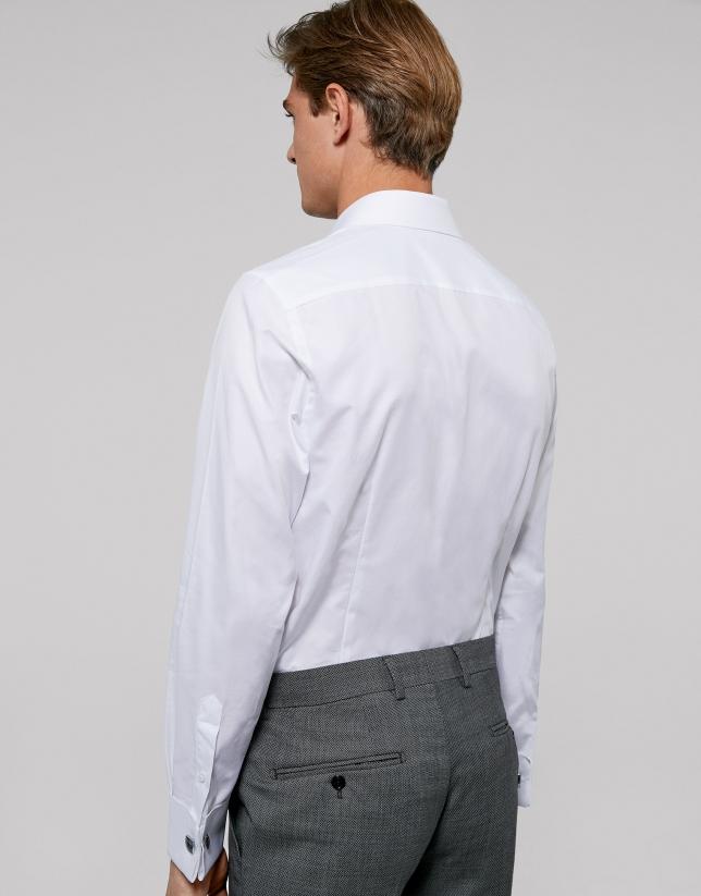 Camisa ceremonia trabajado blanco