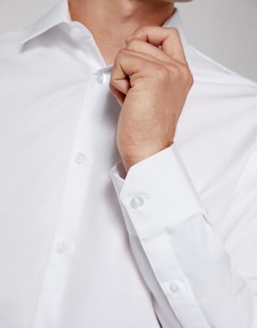 Chemise droite facile d'entretien blanc
