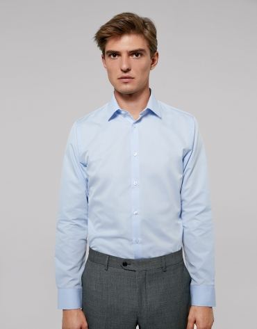 Light blue easy care regular shirt