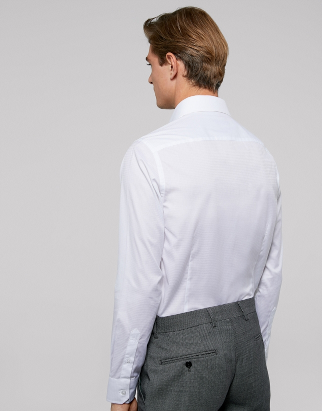White fake plain cotton dress shirt