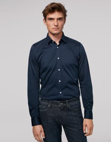 Navy blue herringbone knit sport shirt