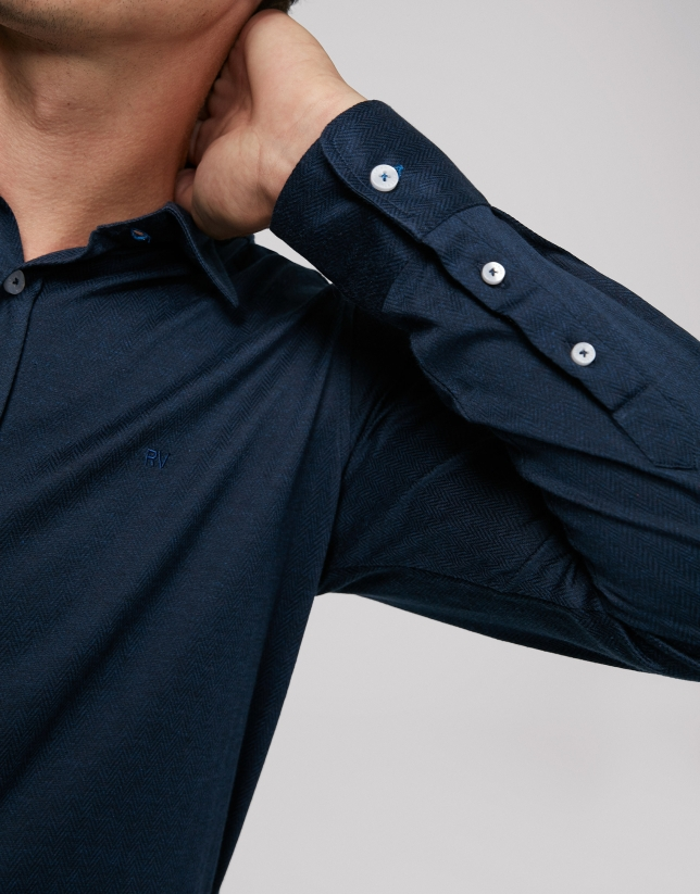Navy blue herringbone knit sport shirt
