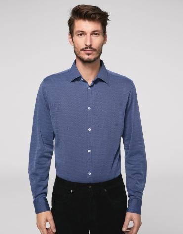 Camisa sport de punto falso liso marino