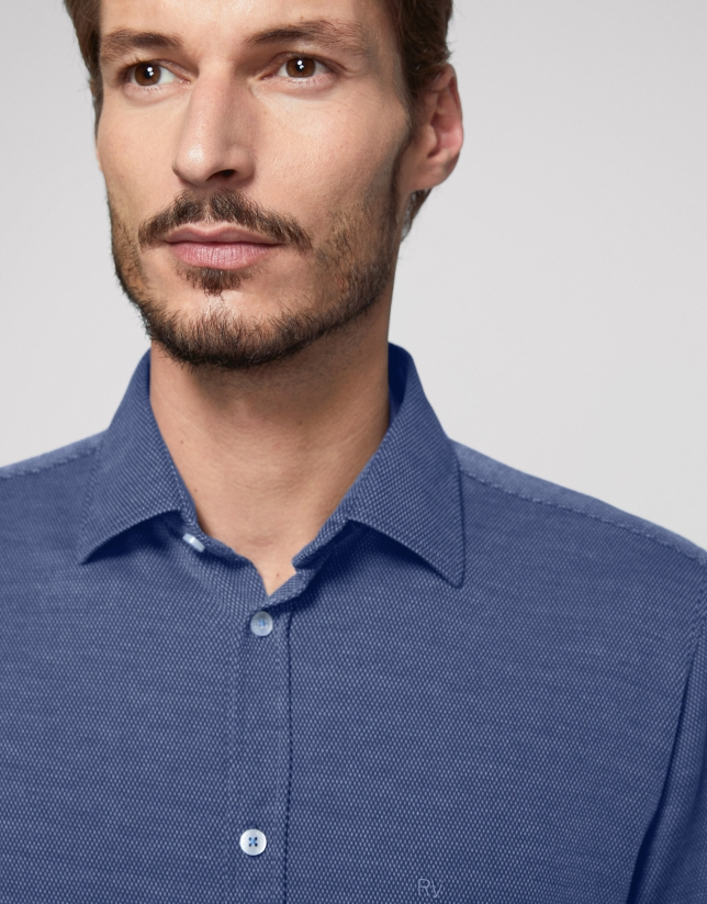 Navy blue fake knit sport shirt