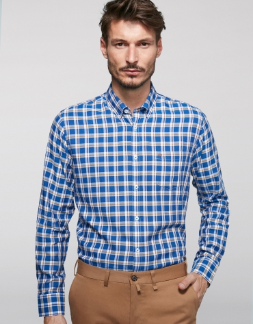 Blue and brown linear checked sport shirt