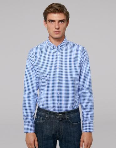 Chemise décontractée à carreaux en bleu Vichy