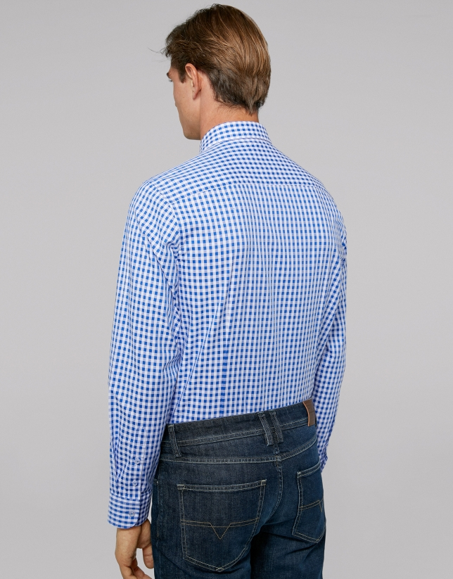 Blue Vichy checked sport shirt