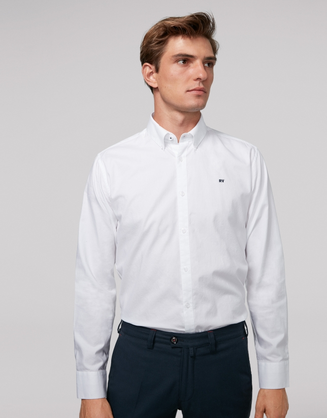 White Oxford cotton sport shirt