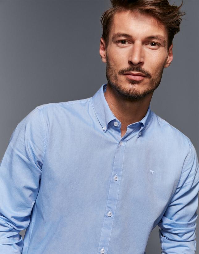 Camisa sport oxford algodón celeste