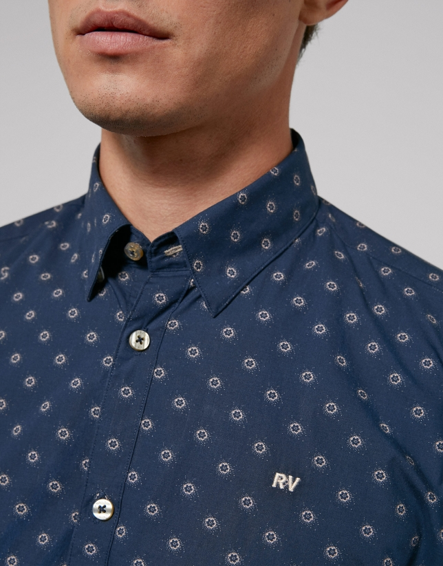 Brown blue floral print sport shirt