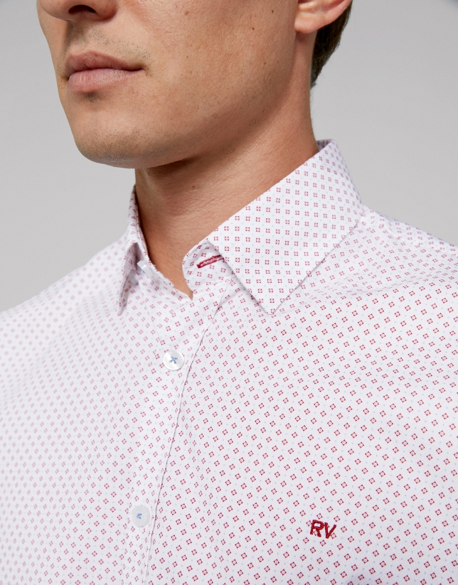 Red and light blue geometric print sport shirt