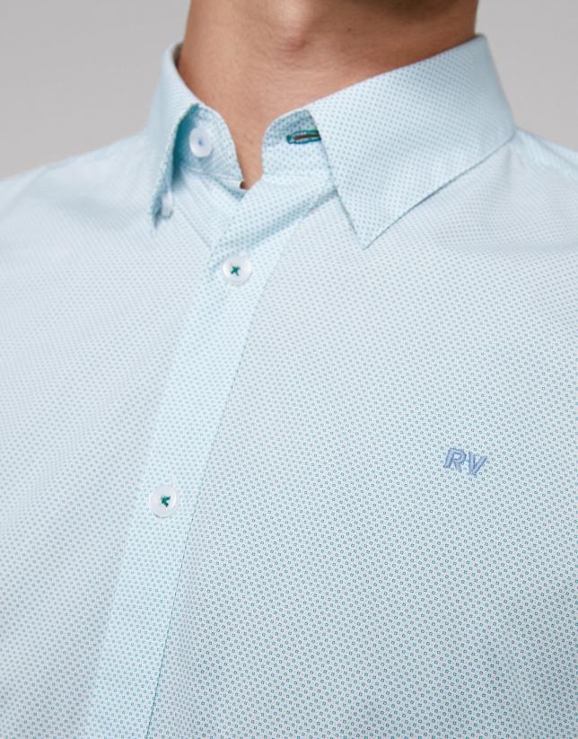 Green and light blue geometric print sport shirt