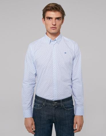Blue necktie print sport shirt