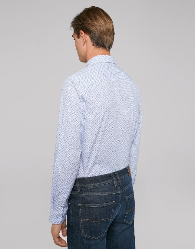 Chemise décontractée imprimée style cravate dans les tons bleus