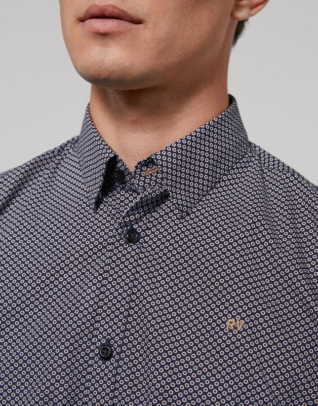 Camisa sport marino con círculos