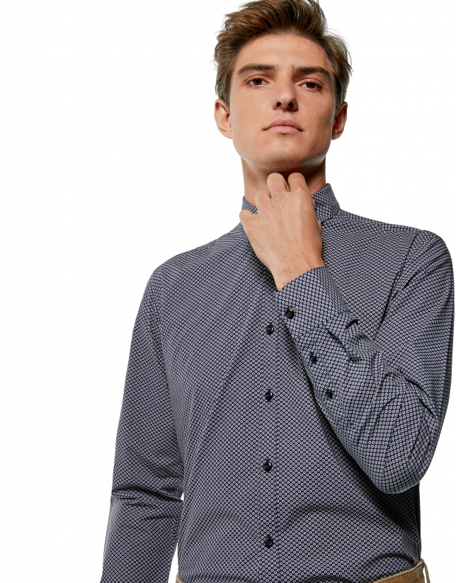 Navy blue sport shirt with circle print