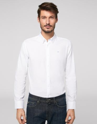 White Panama slim fit cotton shirt