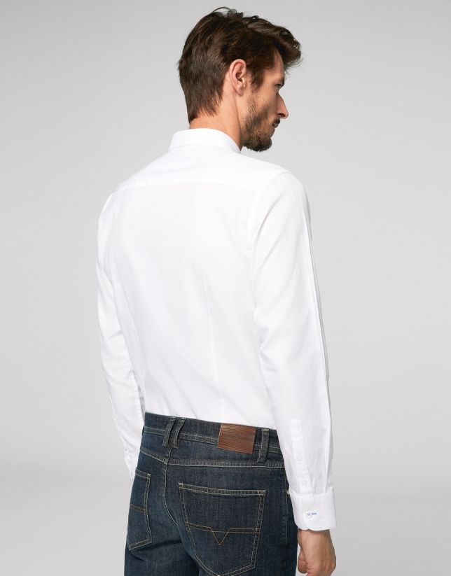 White Panama slim fit cotton shirt