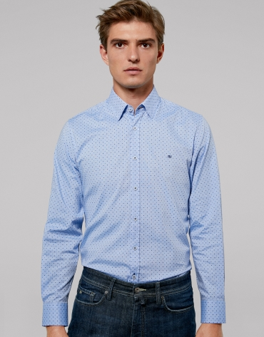 Blue geometric print sport shirt