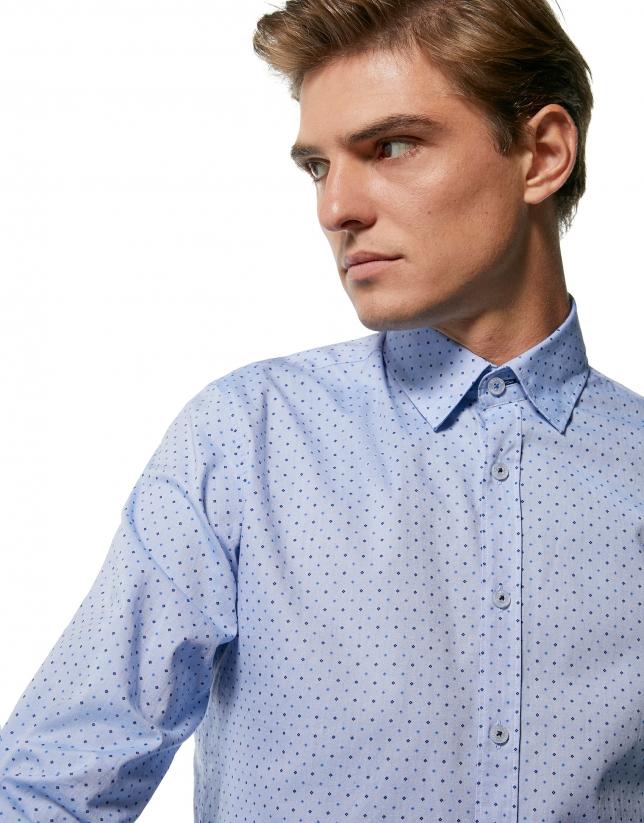 Chemise décontractée, imprimé géométrique dans les tons bleus