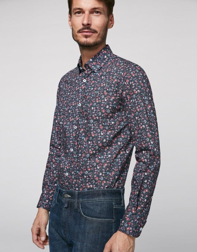 Camisa sport marino estampado floral multicolor