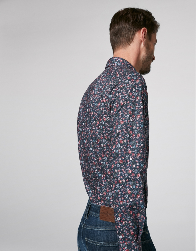 Navy blue sport shirt with multicolor floral print
