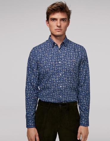 Chemise décontractée bleue à imprimé floral