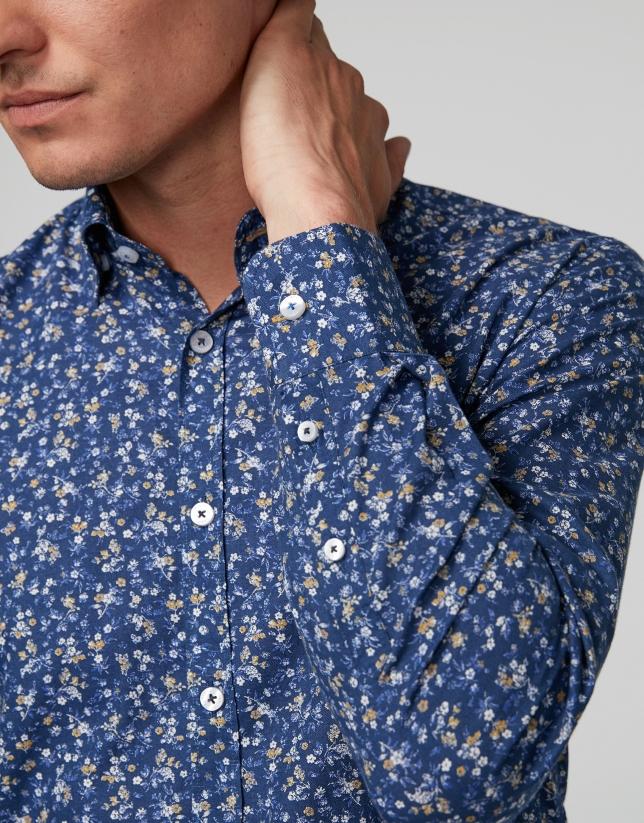 Camisa sport azul estampado floral