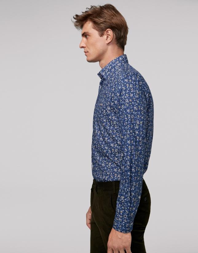 Blue floral print sport shirt