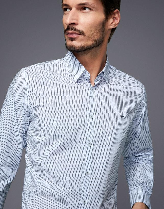 Camisa sport estampado bicolor azules