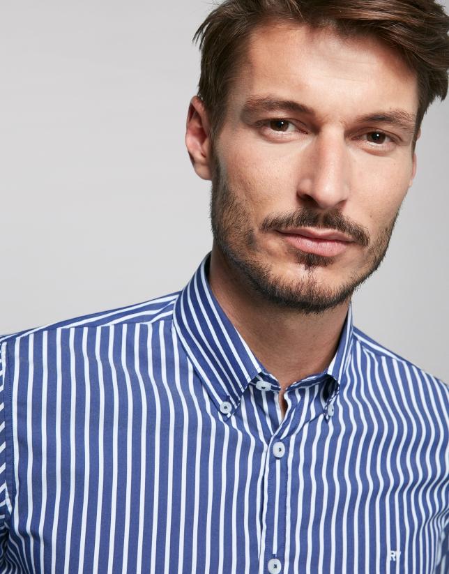 Blue, wide striped sport shirt