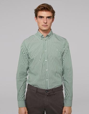 Green, wide striped sport shirt