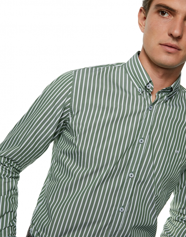 Green, wide striped sport shirt