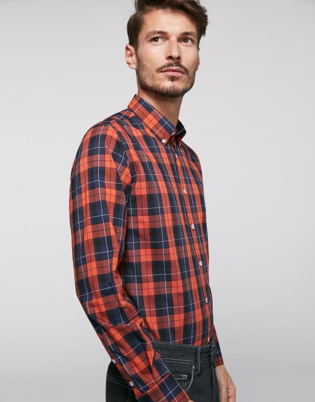 Camisa sport cuadros naranja oscuro