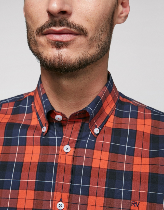 Dark orange checked sport shirt