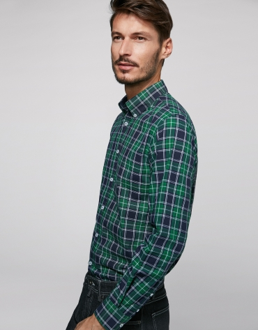 Navy blue, green and white checked sport short
