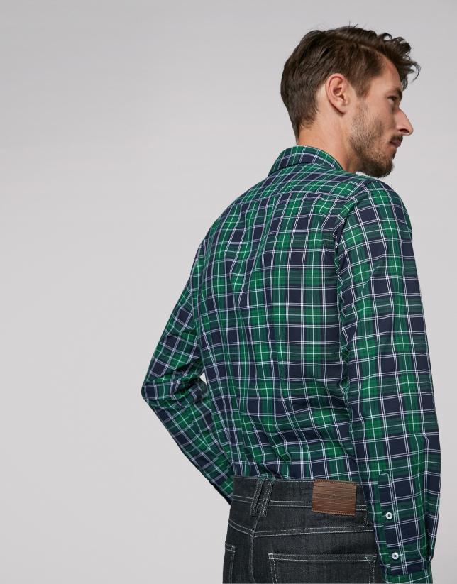 Chemise décontractée à carreaux en vert, bleu marine et blanc