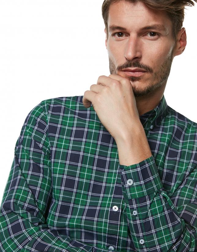 Camisa sport cuadros verde, marino y blanco