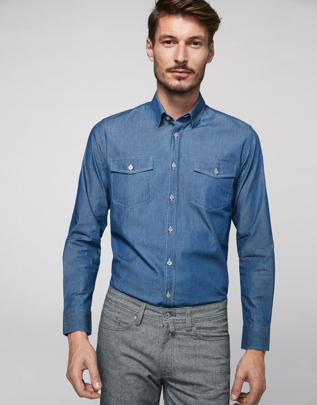 Stone-washed blue jean shirt