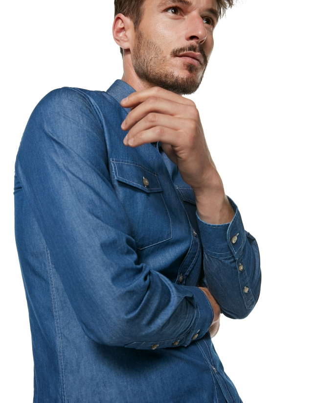 Stone-washed blue jean shirt
