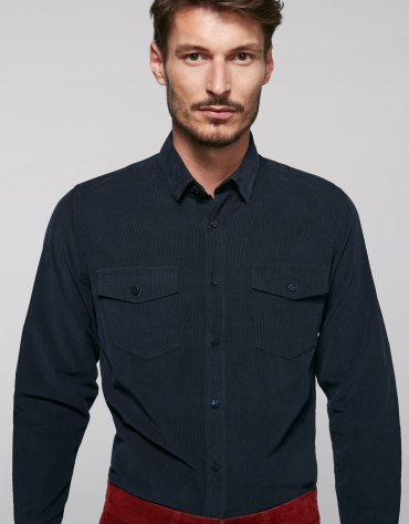 Blue corduroy, jean-cut shirt