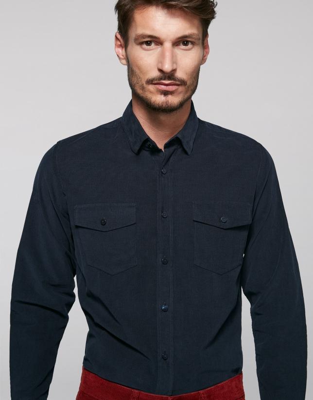Chemise en velours bleu coupe jean