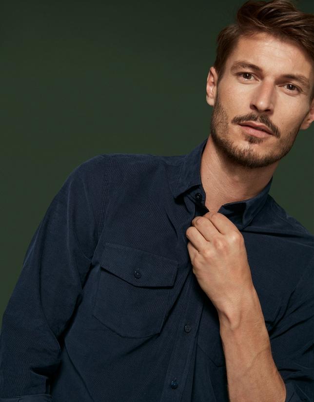 Camisa corte vaquero pana azul