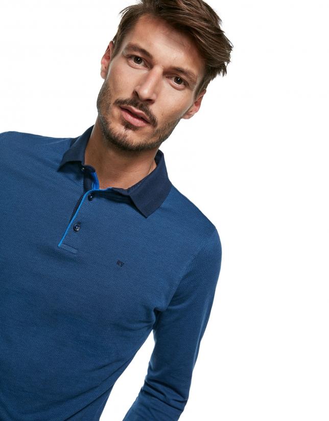 Polo jacquard géométrique dans les tons bleus