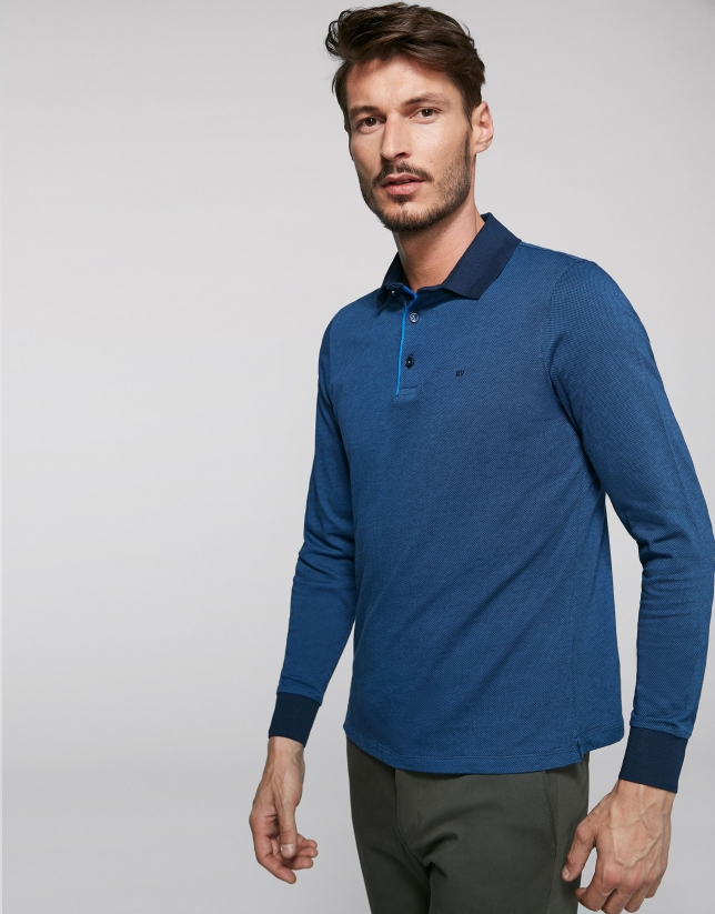Blue geometric print jacquard polo shirt