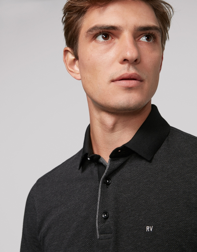 Gray geometric print jacquard polo shirt