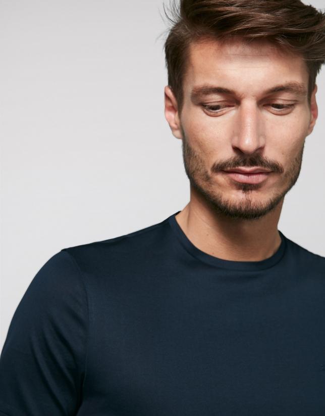 T-shirt bleu marine à manches courtes